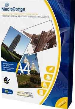 MediaRange Fotopapier DIN A4, hochglanz, 135 g/qm - 100 Blatt - MRINK107