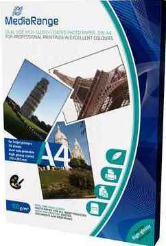 MediaRange Fotopapier DIN A4, beidseitig hochglanz, 160 g/qm - 50 Blatt - MRINK108