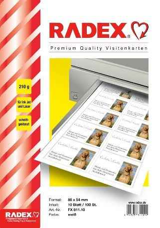 InkJet Visitenkarten 86mm x 54mm auf DIN A4 - weiss matt