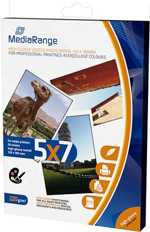 MediaRange Fotopapier 13x18cm, hochglanz, 220 g/qm - 50 Blatt - MRINK114